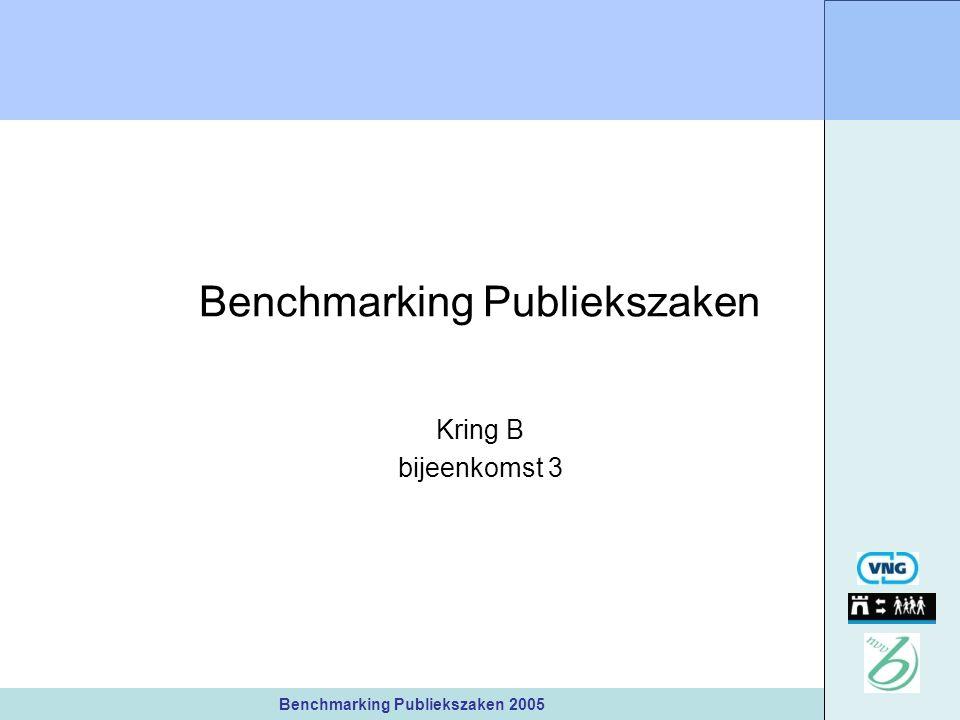 Benchmarking Publiekszaken 2005 Benchmarking Publiekszaken Kring B bijeenkomst 3