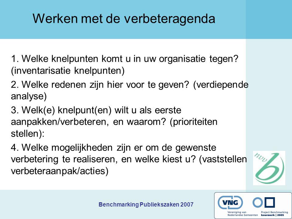 Benchmarking Publiekszaken 2007 Werken met de verbeteragenda Vertalen van de benchmarkresultaten in concrete verbeteracties en het opstellen van een veranderagenda BIJSTELLEN (ACT) START (PLAN) UITVOEREN BENCHMARK (ACT) DIAGNOSE (Check)