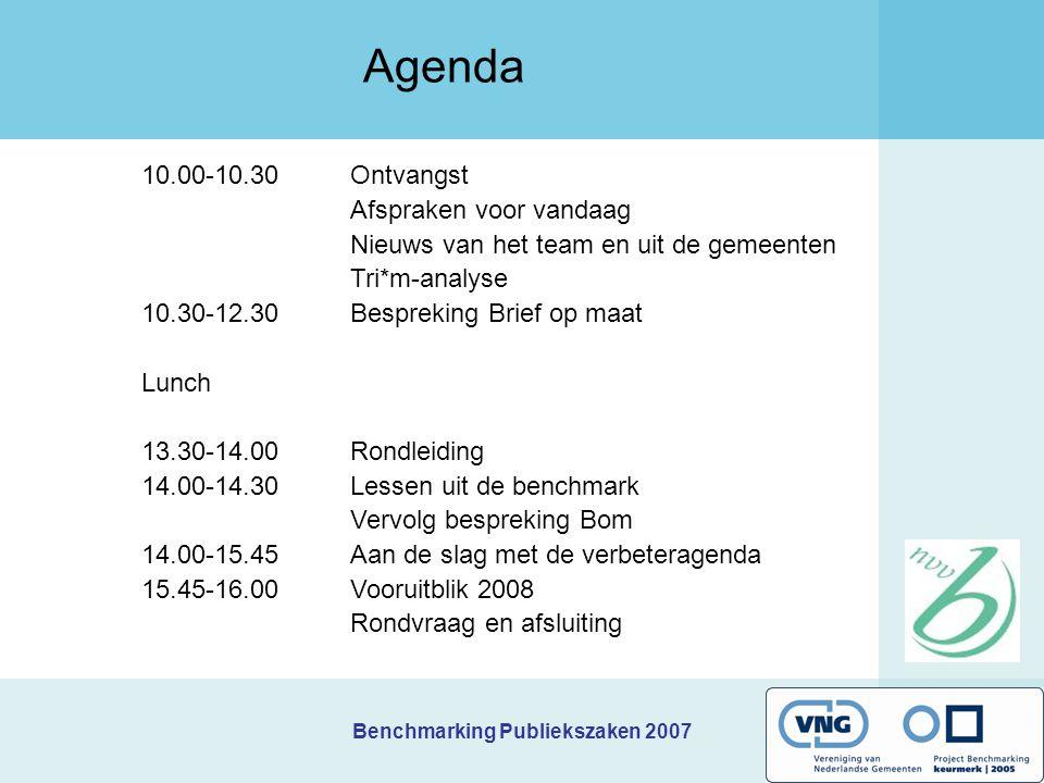 Benchmarking Publiekszaken 2007 Benchmark 2008 Nieuw benchmarkmodel Module Innovatiemonitor toegevoegd Samenwerking met internetspiegel (medewerkerstevredenheid) Standaard KTO balie + telefonie + internet