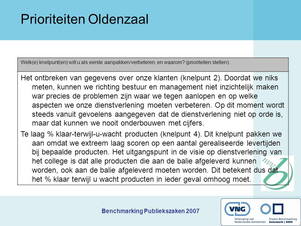 Benchmarking Publiekszaken 2007 Kernindicatoren Oldenzaal 1.