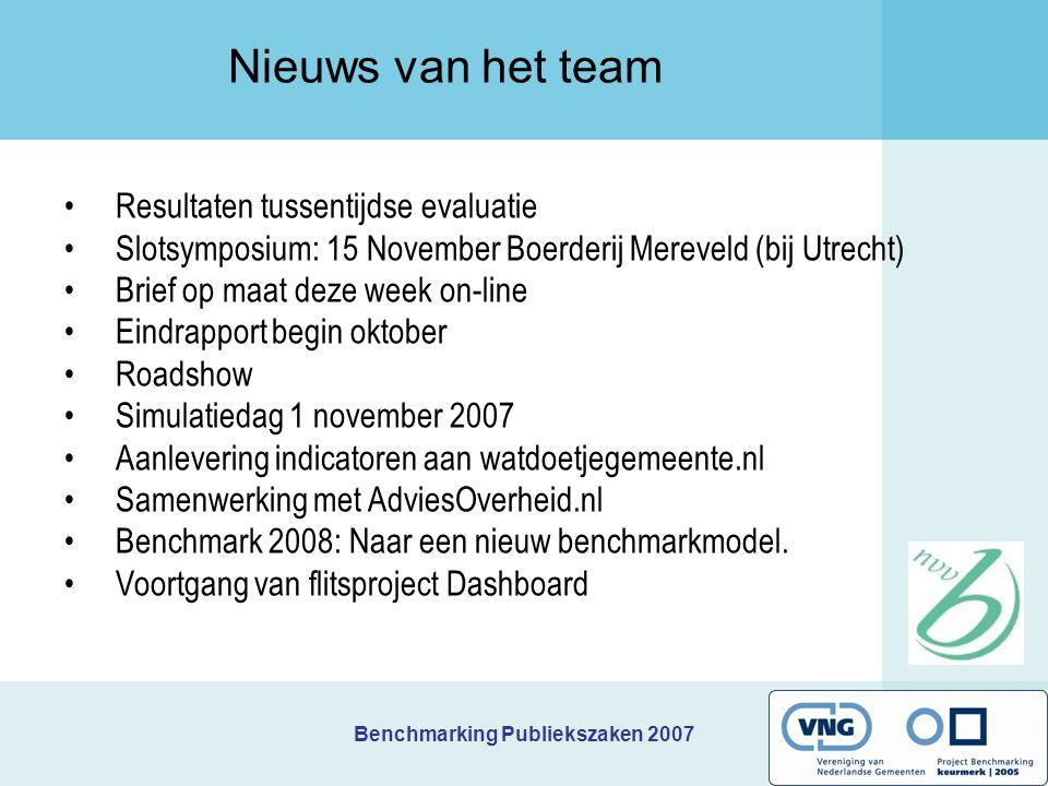 Benchmarking Publiekszaken 2007 Doel en afspraken voor vandaag Leerdoel: Het op basis van de benchmarkgegevens verkrijgen van inzicht in de verbetermogelijkheden en het benoemen van concrete acties.