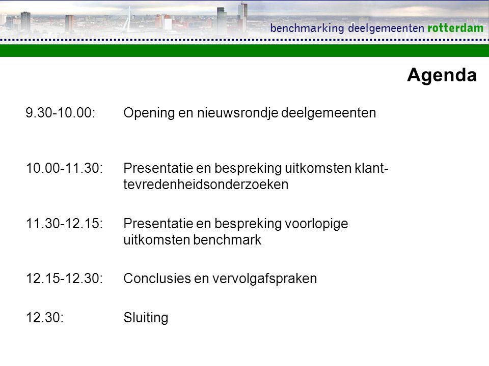Agenda 9.30-10.00: Opening en nieuwsrondje deelgemeenten 10.00-11.30: Presentatie en bespreking uitkomsten klant- tevredenheidsonderzoeken 11.30-12.15: Presentatie en bespreking voorlopige uitkomsten benchmark 12.15-12.30: Conclusies en vervolgafspraken 12.30: Sluiting