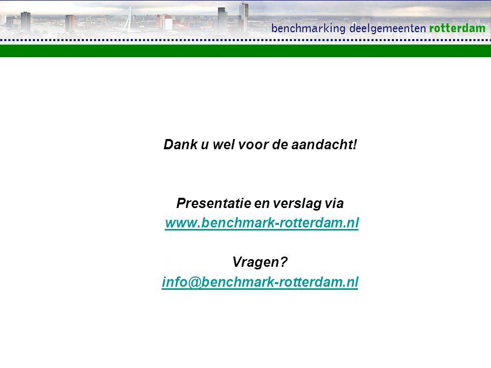 Dank u wel voor de aandacht! Presentatie en verslag via www.benchmark-rotterdam.nl Vragen? info@benchmark-rotterdam.nl