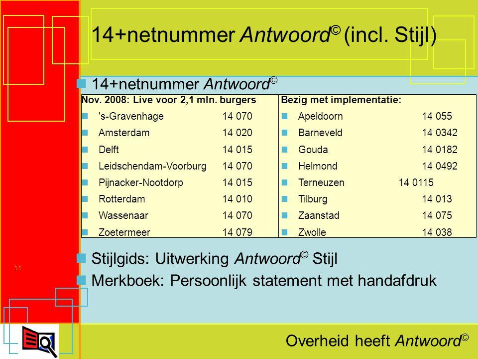 Overheid heeft Antwoord © 11 14+netnummer Antwoord © (incl.