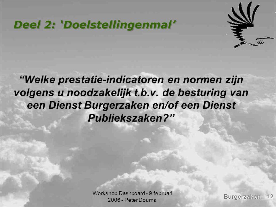 """Burgerzaken Workshop Dashboard - 9 februari 2006 - Peter Douma 12 Deel 2: 'Doelstellingenmal' """"Welke prestatie-indicatoren en normen zijn volgens u no"""