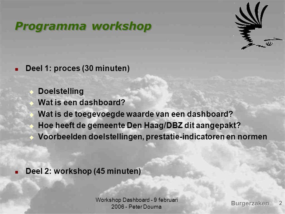 Burgerzaken Workshop Dashboard - 9 februari 2006 - Peter Douma 3 Doelstelling workshop Kennis delen Kritisch feedback van de aanwezigen I have a dream: gemeenschappelijk dashboard