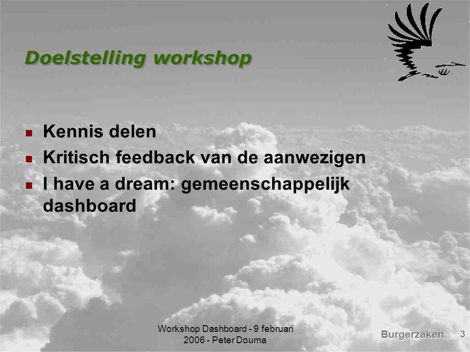 Burgerzaken Workshop Dashboard - 9 februari 2006 - Peter Douma 4 Wat is een dashboard.