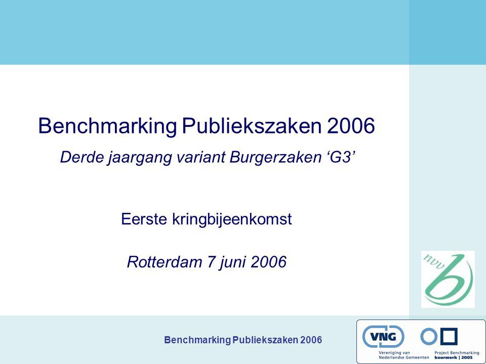 Benchmarking Publiekszaken 2006 Benchmarking Publiekszaken 2006 Derde jaargang variant Burgerzaken 'G3' Eerste kringbijeenkomst Rotterdam 7 juni 2006