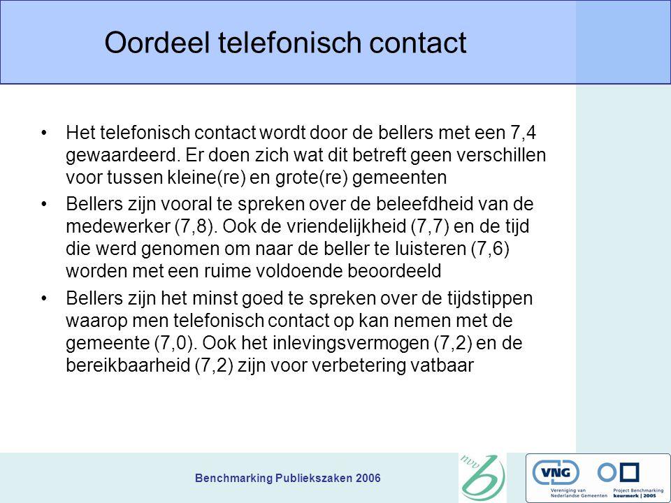 Benchmarking Publiekszaken 2006 Oordeel telefonisch contact Het telefonisch contact wordt door de bellers met een 7,4 gewaardeerd.