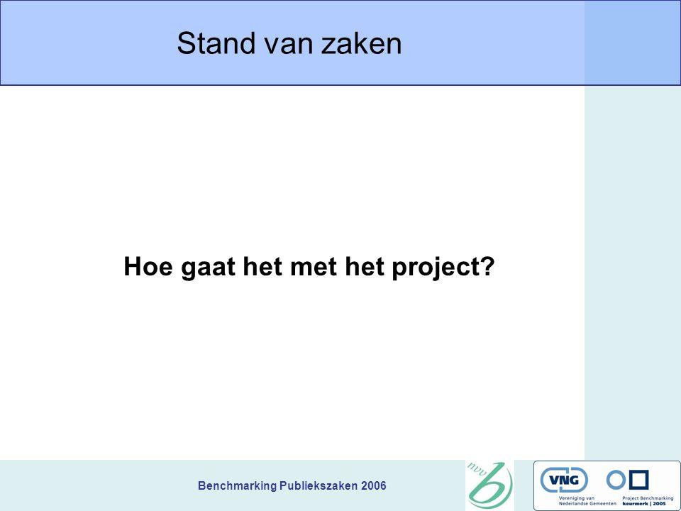 Benchmarking Publiekszaken 2006 Stand van zaken Hoe gaat het met het project
