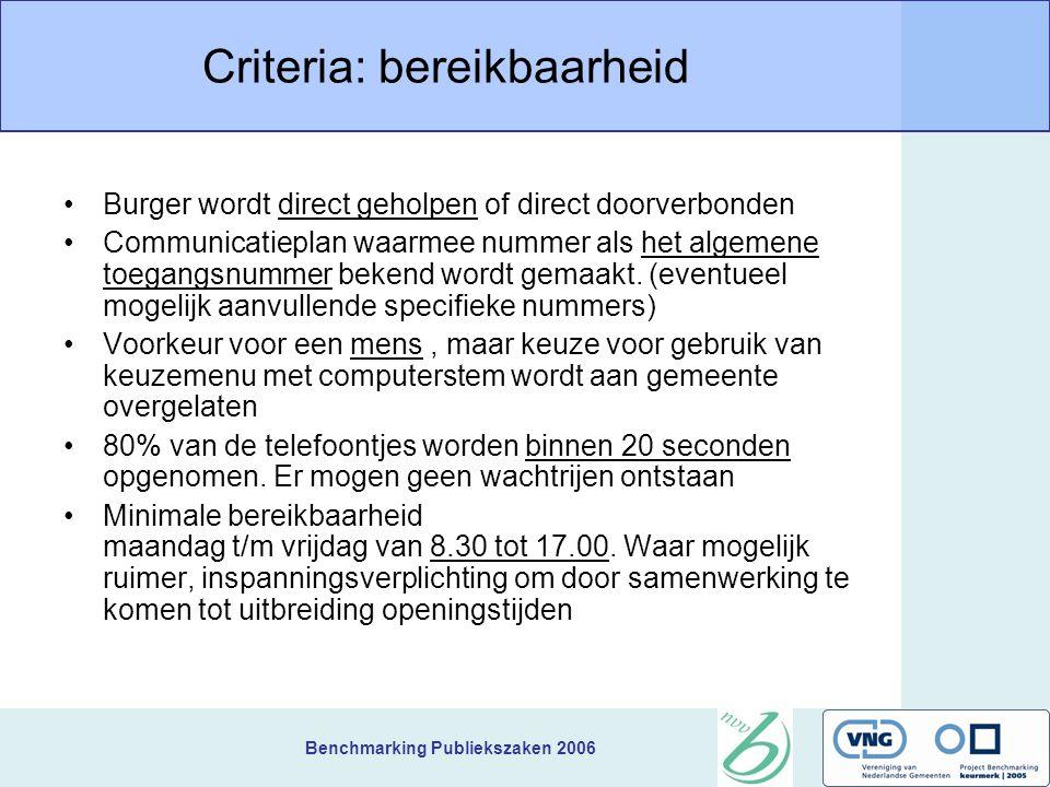 Benchmarking Publiekszaken 2006 Criteria: bereikbaarheid Burger wordt direct geholpen of direct doorverbonden Communicatieplan waarmee nummer als het algemene toegangsnummer bekend wordt gemaakt.