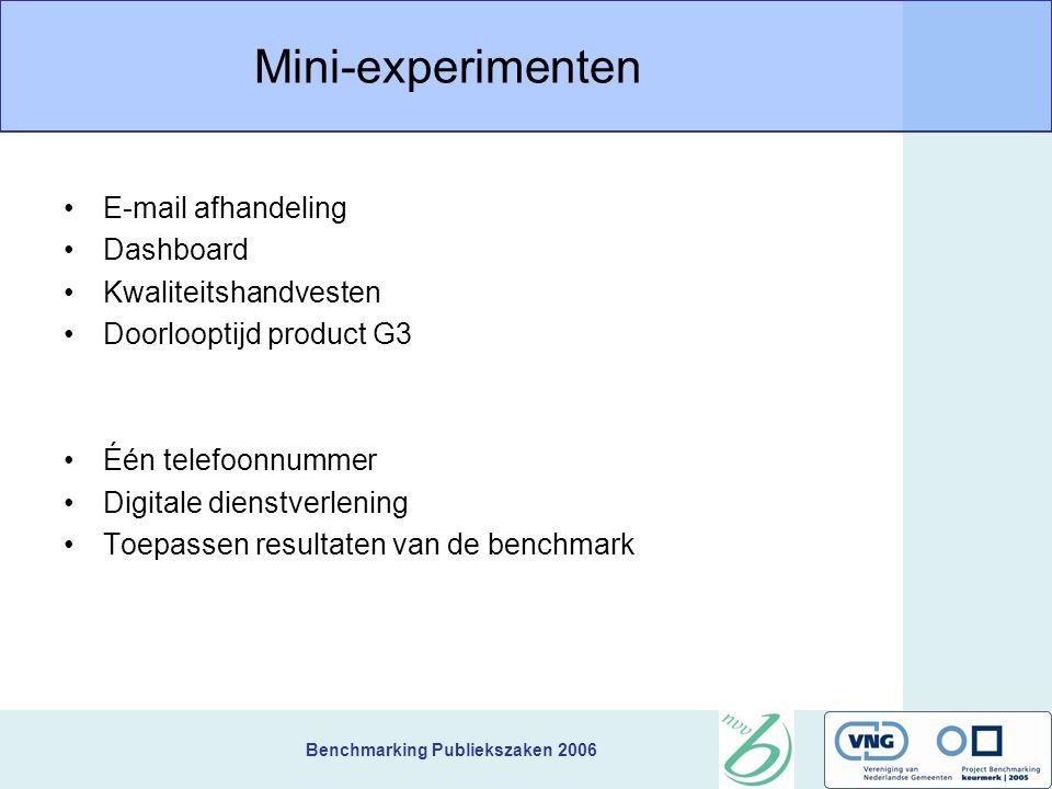 Benchmarking Publiekszaken 2006 Mini-experimenten E-mail afhandeling Dashboard Kwaliteitshandvesten Doorlooptijd product G3 Één telefoonnummer Digitale dienstverlening Toepassen resultaten van de benchmark