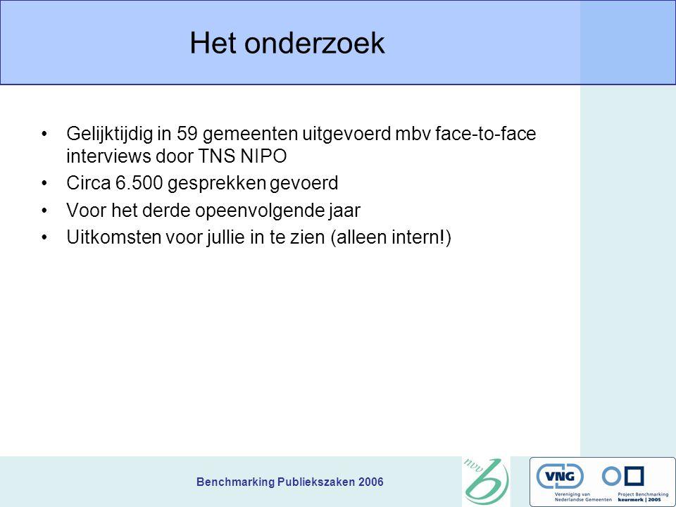 Benchmarking Publiekszaken 2006 Het onderzoek Gelijktijdig in 59 gemeenten uitgevoerd mbv face-to-face interviews door TNS NIPO Circa 6.500 gesprekken gevoerd Voor het derde opeenvolgende jaar Uitkomsten voor jullie in te zien (alleen intern!)