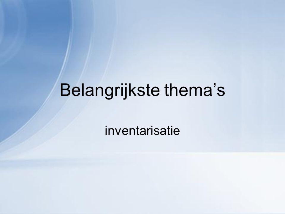 Belangrijkste thema's inventarisatie