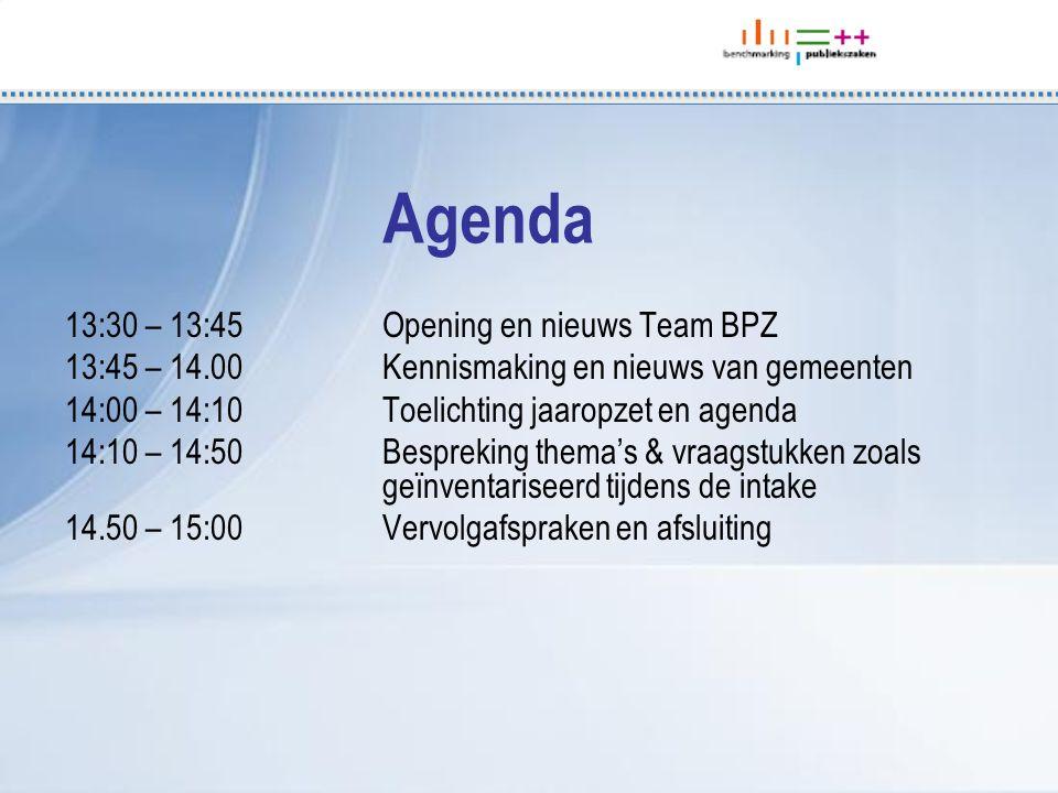 13:30 – 13:45Opening en nieuws Team BPZ 13:45 – 14.00Kennismaking en nieuws van gemeenten 14:00 – 14:10Toelichting jaaropzet en agenda 14:10 – 14:50 B