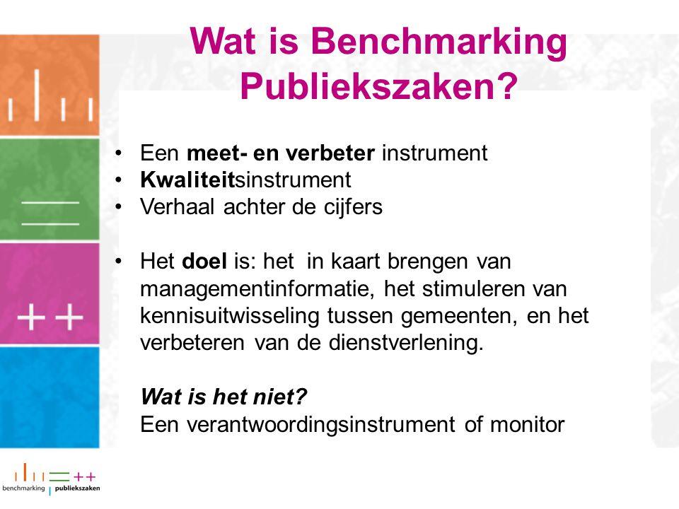 Een meet- en verbeter instrument Kwaliteitsinstrument Verhaal achter de cijfers Het doel is: het in kaart brengen van managementinformatie, het stimuleren van kennisuitwisseling tussen gemeenten, en het verbeteren van de dienstverlening.