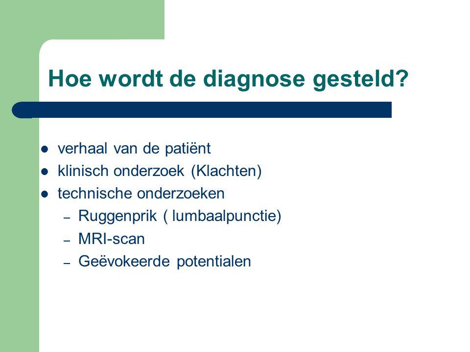 verhaal van de patiënt klinisch onderzoek (Klachten) technische onderzoeken – Ruggenprik ( lumbaalpunctie) – MRI-scan – Geëvokeerde potentialen Hoe wo