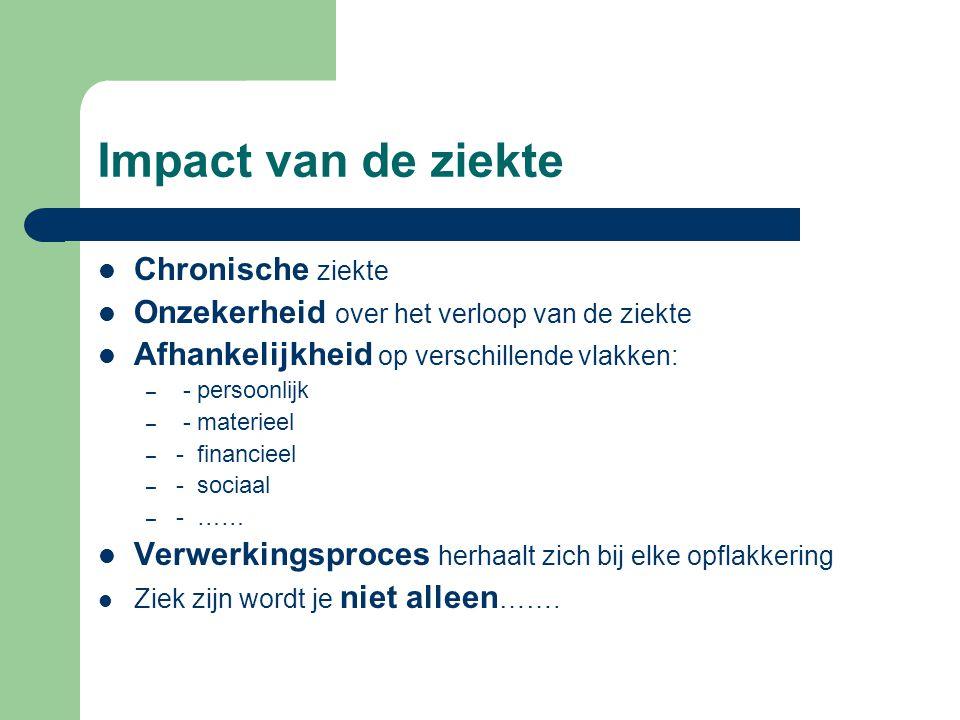 Impact van de ziekte Chronische ziekte Onzekerheid over het verloop van de ziekte Afhankelijkheid op verschillende vlakken: – - persoonlijk – - materi