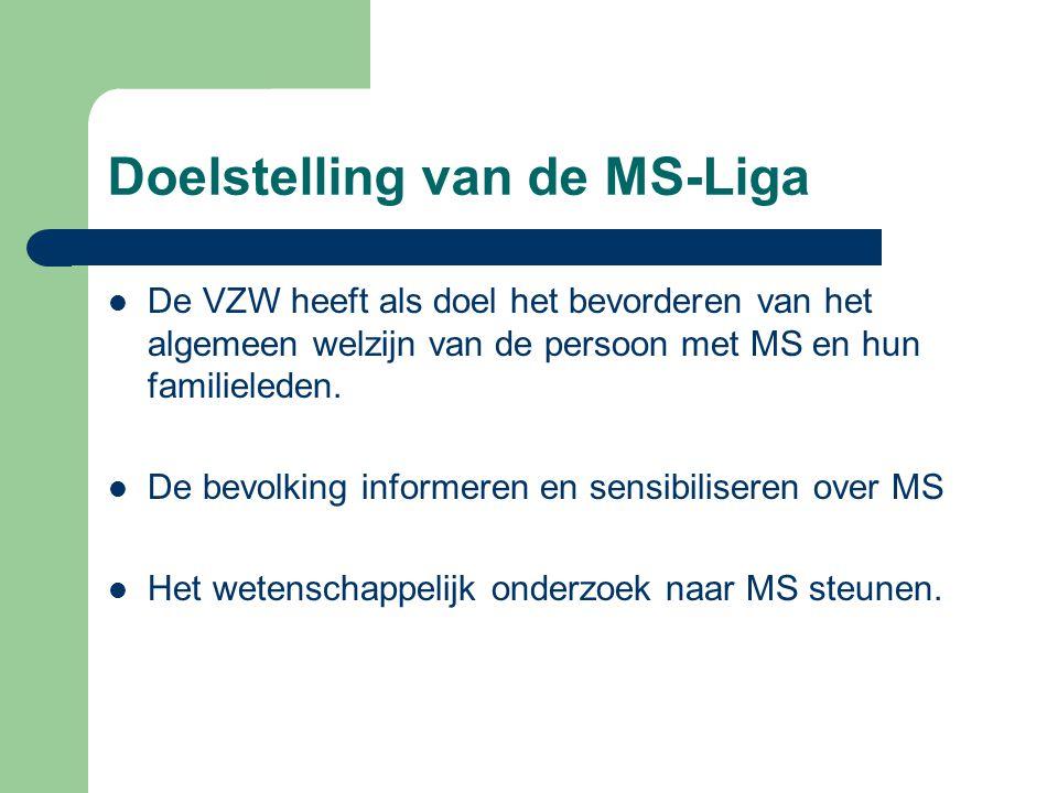 Doelstelling van de MS-Liga De VZW heeft als doel het bevorderen van het algemeen welzijn van de persoon met MS en hun familieleden. De bevolking info