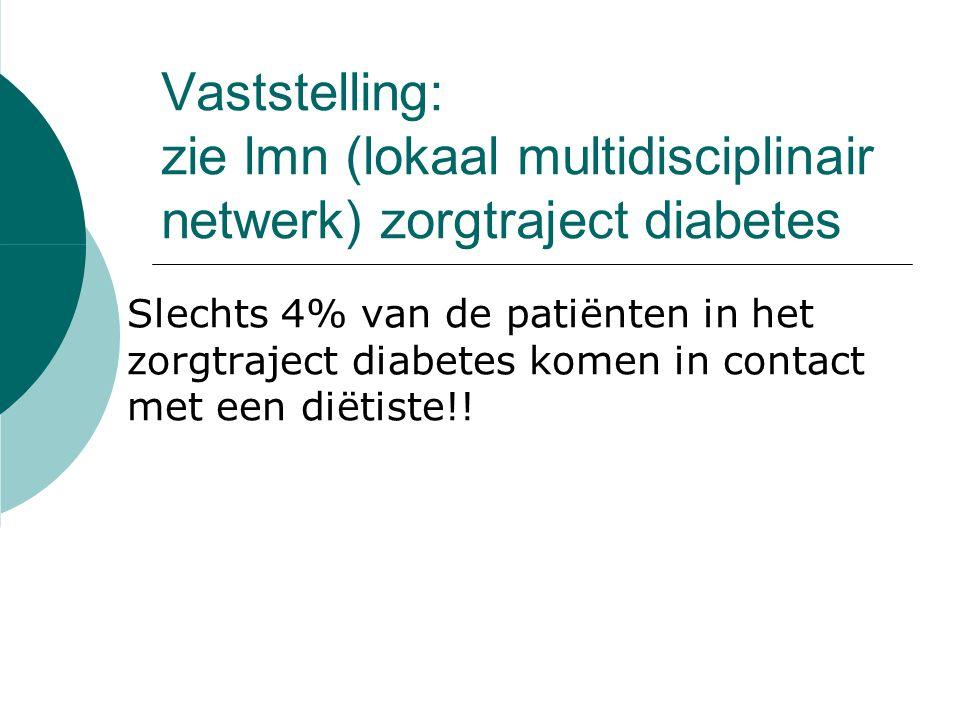 Vaststelling: zie lmn (lokaal multidisciplinair netwerk) zorgtraject diabetes Slechts 4% van de patiënten in het zorgtraject diabetes komen in contact met een diëtiste!!