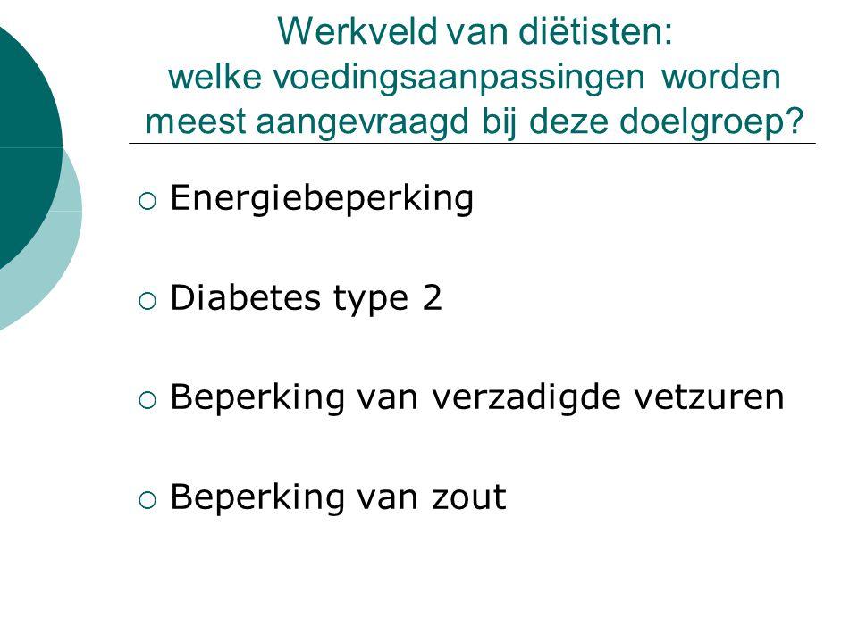 Werkveld van diëtisten: welke voedingsaanpassingen worden meest aangevraagd bij deze doelgroep.