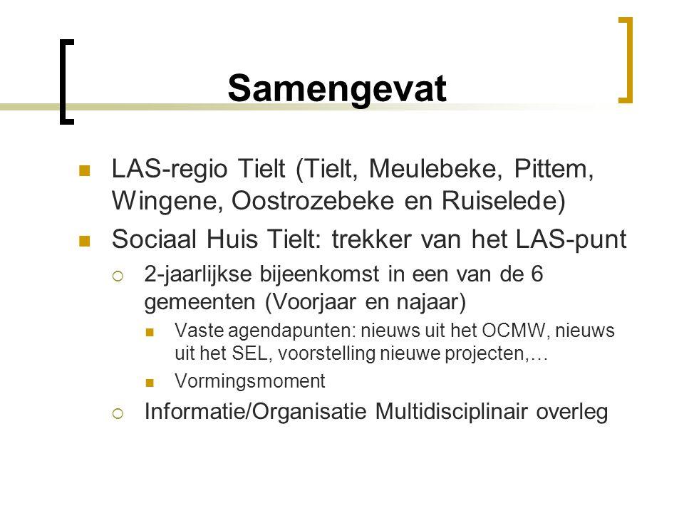 Samengevat LAS-regio Tielt (Tielt, Meulebeke, Pittem, Wingene, Oostrozebeke en Ruiselede) Sociaal Huis Tielt: trekker van het LAS-punt  2-jaarlijkse