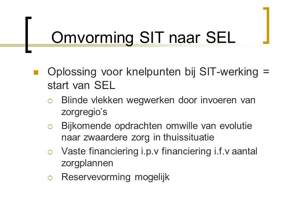 Omvorming SIT naar SEL Oplossing voor knelpunten bij SIT-werking = start van SEL  Blinde vlekken wegwerken door invoeren van zorgregio's  Bijkomende