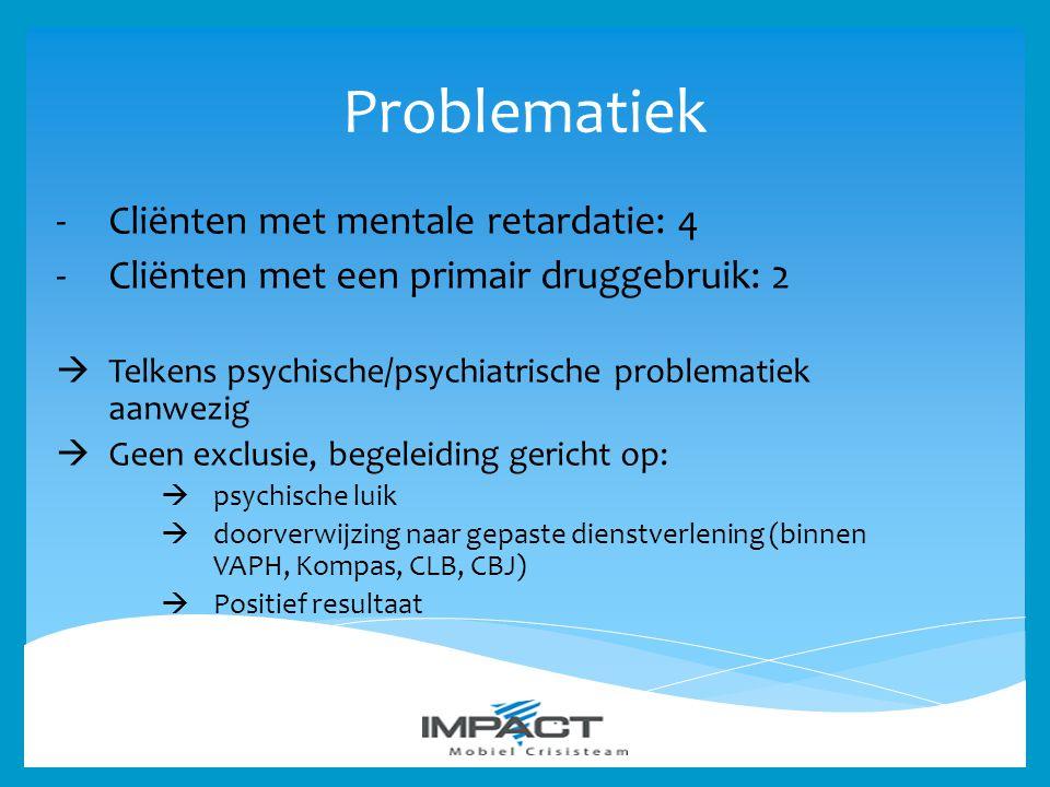 Problematiek -Cliënten met mentale retardatie: 4 -Cliënten met een primair druggebruik: 2  Telkens psychische/psychiatrische problematiek aanwezig 