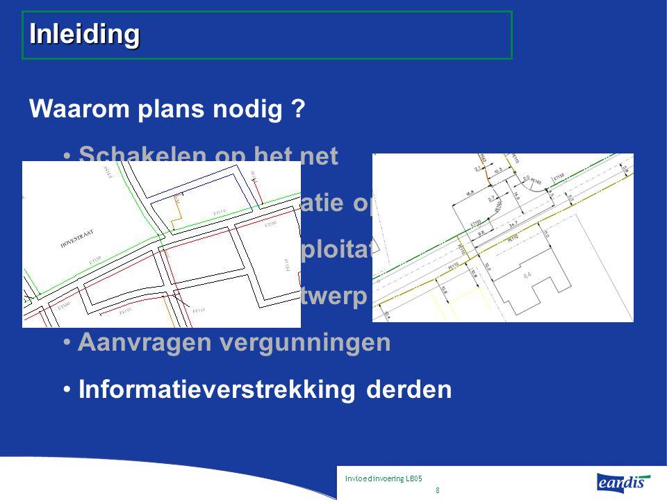 Invloed invoering LB05 9 Impact : Schema  Type .Rechtlijnige vectoriële plans  Dataopslag .