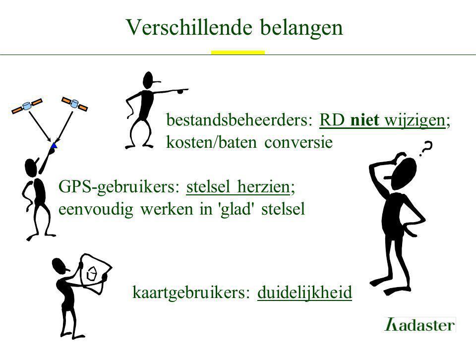Verschillende belangen kaartgebruikers: duidelijkheid GPS-gebruikers: stelsel herzien; eenvoudig werken in 'glad' stelsel bestandsbeheerders: RD niet