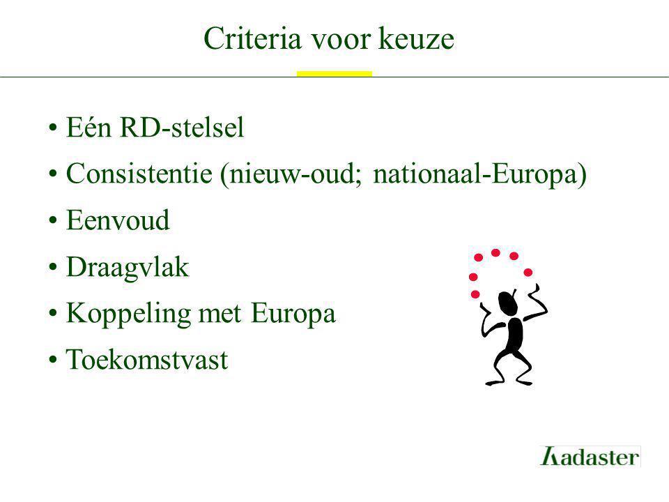 Criteria voor keuze Eén RD-stelsel Consistentie (nieuw-oud; nationaal-Europa) Eenvoud Draagvlak Koppeling met Europa Toekomstvast