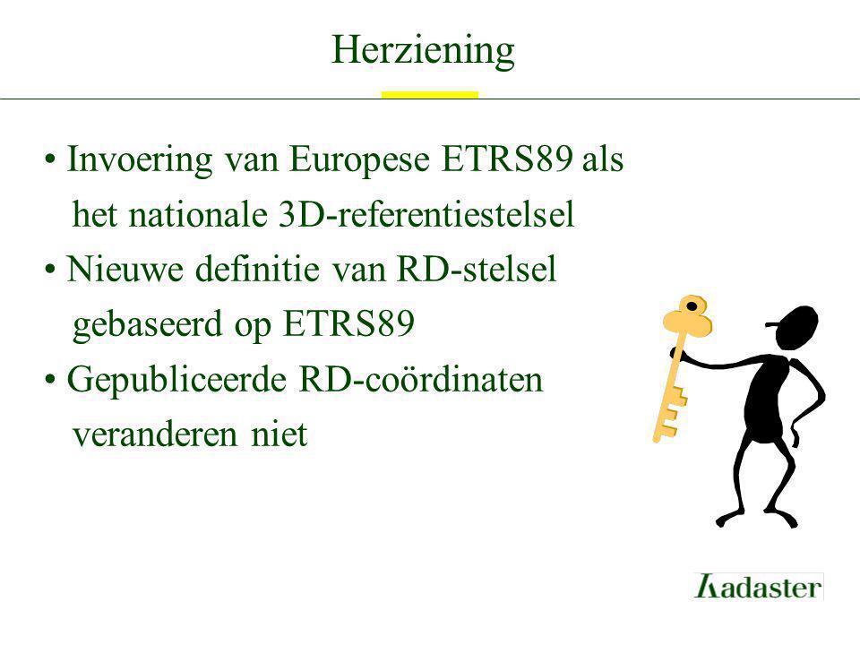 Herziening Invoering van Europese ETRS89 als het nationale 3D-referentiestelsel Nieuwe definitie van RD-stelsel gebaseerd op ETRS89 Gepubliceerde RD-c