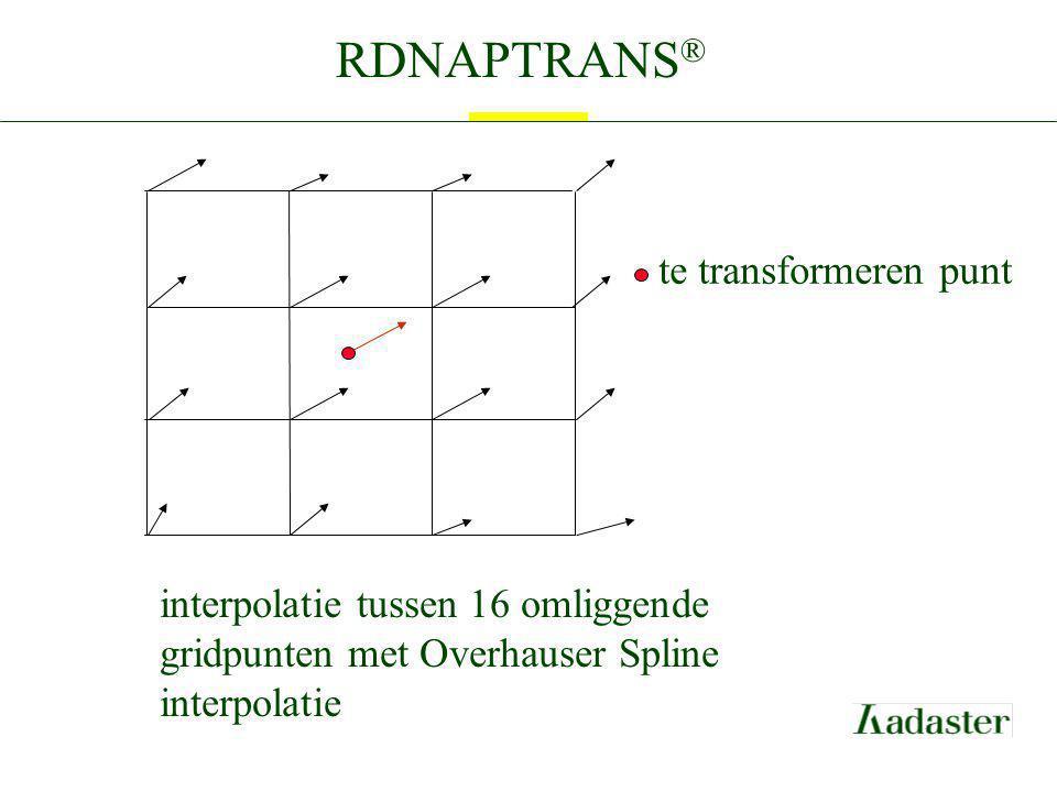 RDNAPTRANS ® interpolatie tussen 16 omliggende gridpunten met Overhauser Spline interpolatie te transformeren punt