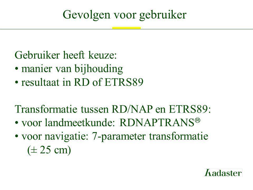 Gevolgen voor gebruiker Gebruiker heeft keuze: manier van bijhouding resultaat in RD of ETRS89 Transformatie tussen RD/NAP en ETRS89: voor landmeetkun