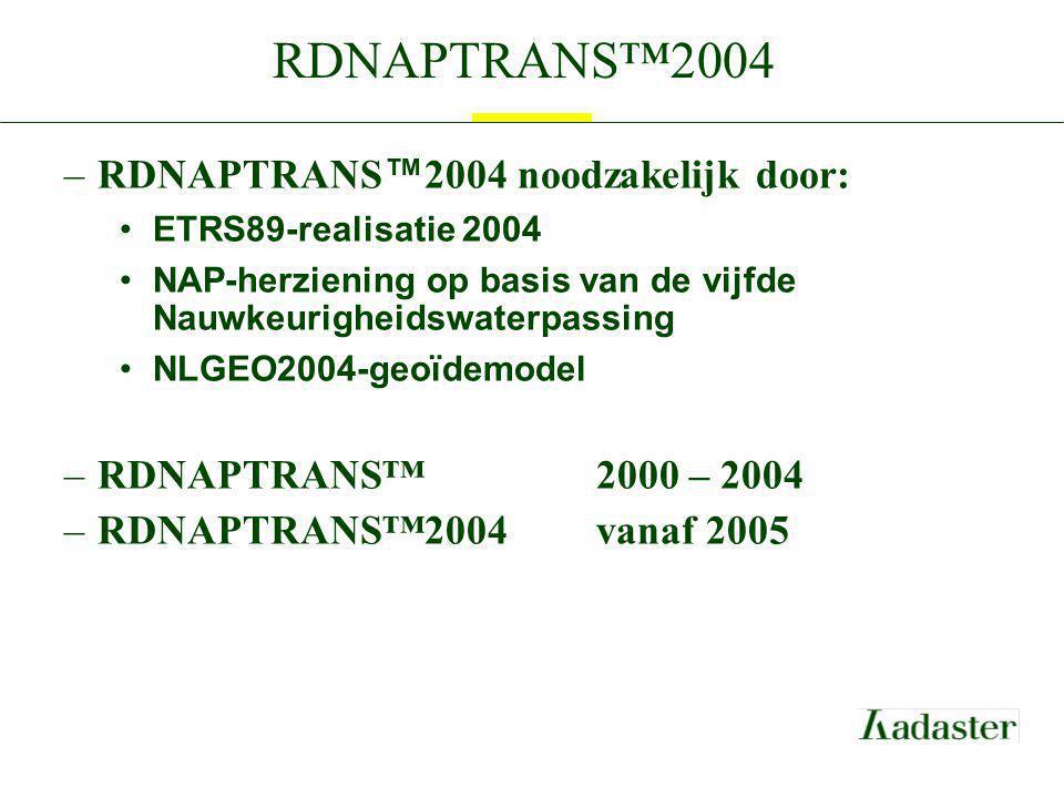 RDNAPTRANS™2004 –RDNAPTRANS ™ 2004 noodzakelijk door: ETRS89-realisatie 2004 NAP-herziening op basis van de vijfde Nauwkeurigheidswaterpassing NLGEO20