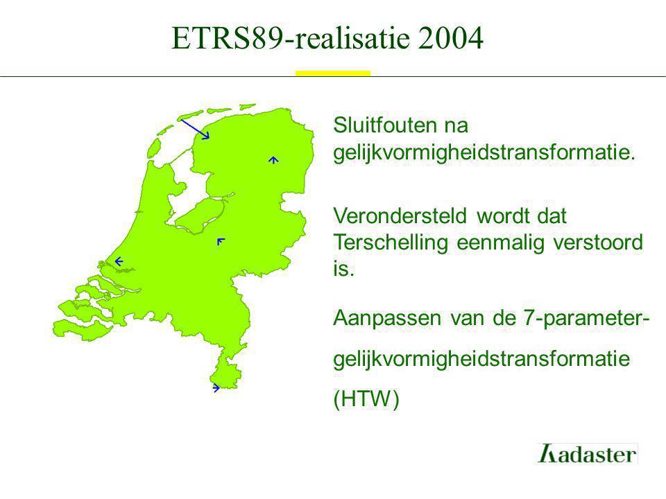 ETRS89-realisatie 2004 Sluitfouten na gelijkvormigheidstransformatie. Verondersteld wordt dat Terschelling eenmalig verstoord is. Aanpassen van de 7-p