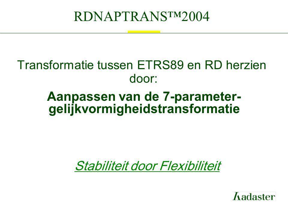 Transformatie tussen ETRS89 en RD herzien door: Aanpassen van de 7-parameter- gelijkvormigheidstransformatie Stabiliteit door Flexibiliteit RDNAPTRANS