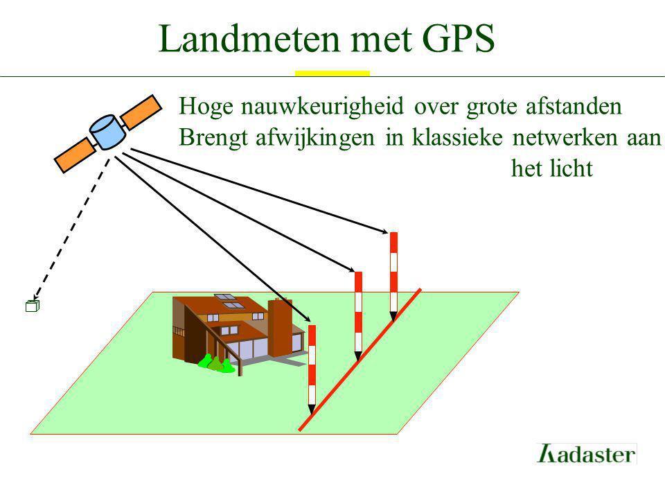 Landmeten met GPS Hoge nauwkeurigheid over grote afstanden Brengt afwijkingen in klassieke netwerken aan het licht