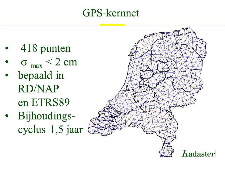GPS-kernnet 418 punten  max < 2 cm bepaald in RD/NAP en ETRS89 Bijhoudings- cyclus 1,5 jaar