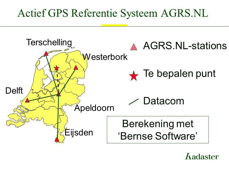 Actief GPS Referentie Systeem AGRS.NL Terschelling Westerbork Delft Apeldoorn Eijsden AGRS.NL-stations Te bepalen punt Datacom Berekening met 'Bernse