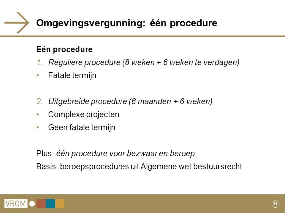 11 Omgevingsvergunning: één procedure Eén procedure 1.Reguliere procedure (8 weken + 6 weken te verdagen) Fatale termijn 2.Uitgebreide procedure (6 ma