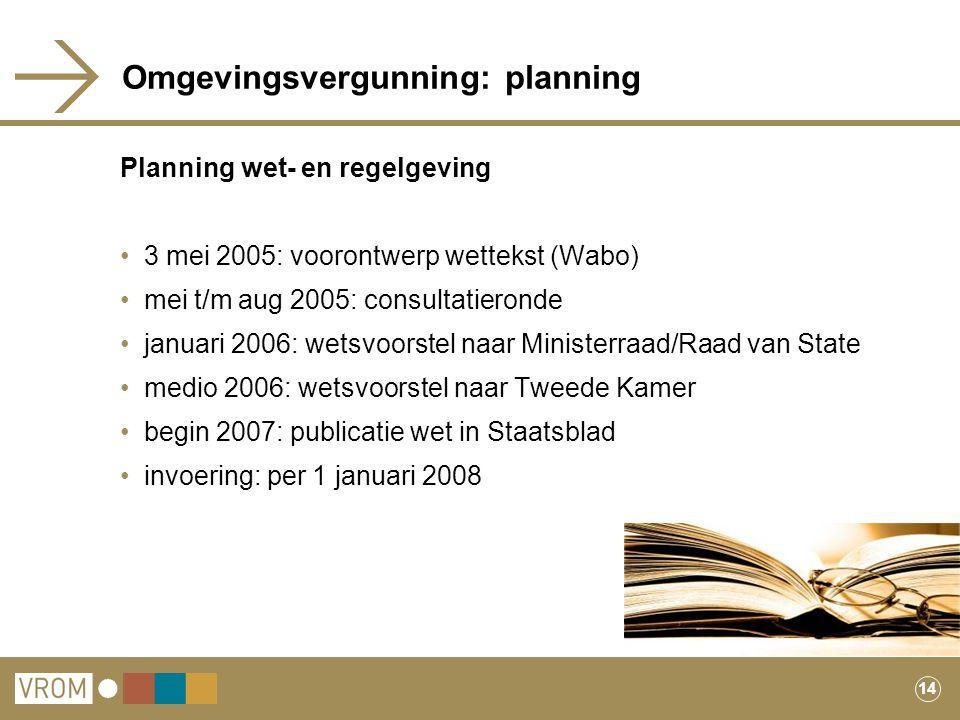 14 Omgevingsvergunning: planning Planning wet- en regelgeving 3 mei 2005: voorontwerp wettekst (Wabo) mei t/m aug 2005: consultatieronde januari 2006: