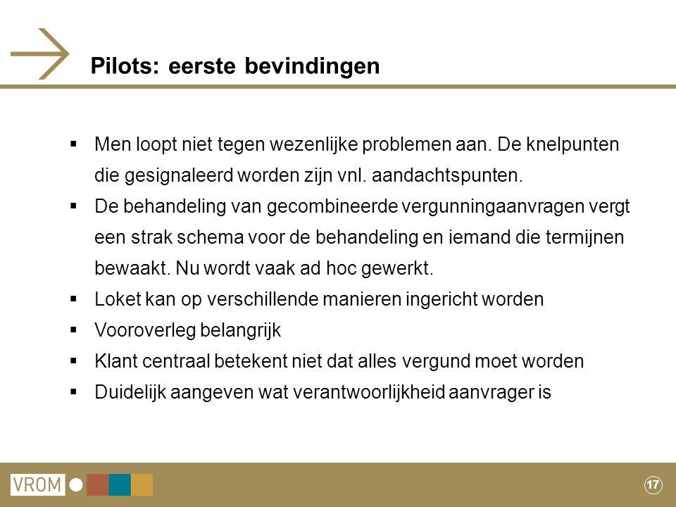 17 Pilots: eerste bevindingen  Men loopt niet tegen wezenlijke problemen aan. De knelpunten die gesignaleerd worden zijn vnl. aandachtspunten.  De b