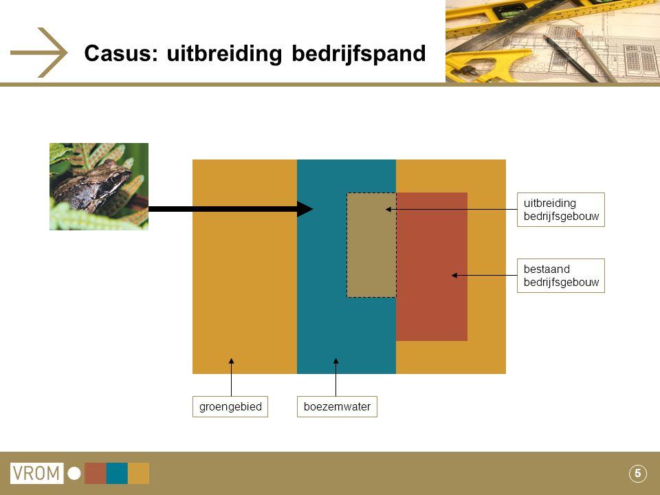 5 Casus: uitbreiding bedrijfspand groengebiedboezemwater uitbreiding bedrijfsgebouw bestaand bedrijfsgebouw