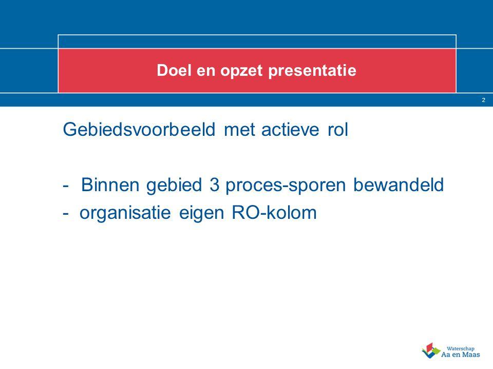 2 Doel en opzet presentatie Gebiedsvoorbeeld met actieve rol -Binnen gebied 3 proces-sporen bewandeld - organisatie eigen RO-kolom