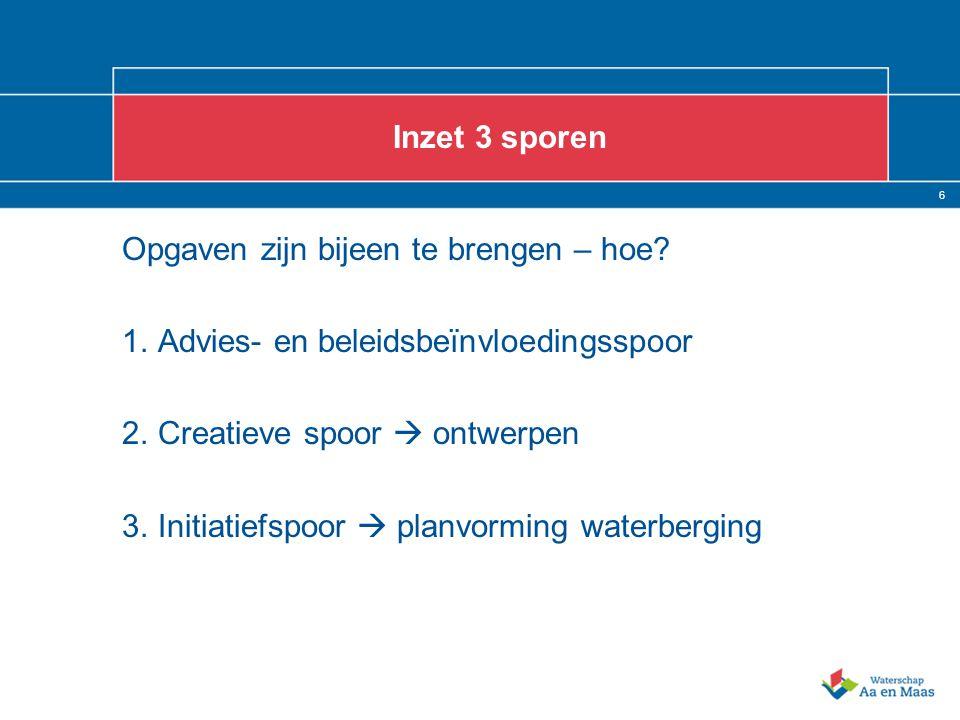 6 Inzet 3 sporen Opgaven zijn bijeen te brengen – hoe? 1.Advies- en beleidsbeïnvloedingsspoor 2.Creatieve spoor  ontwerpen 3.Initiatiefspoor  planvo