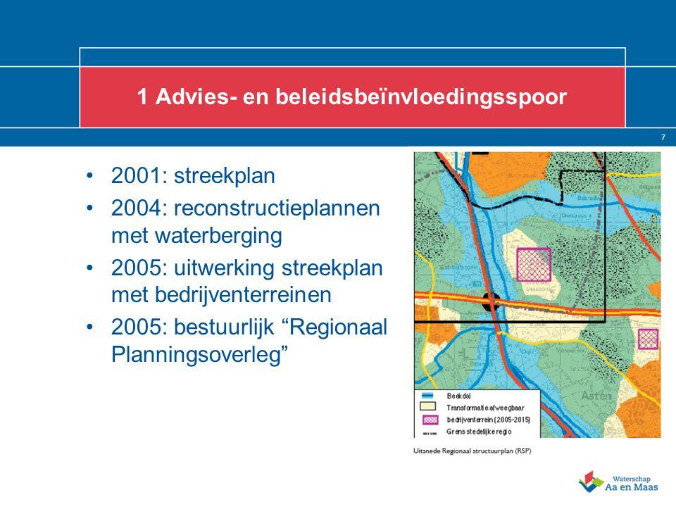 7 1 Advies- en beleidsbeïnvloedingsspoor 2001: streekplan 2004: reconstructieplannen met waterberging 2005: uitwerking streekplan met bedrijventerrein