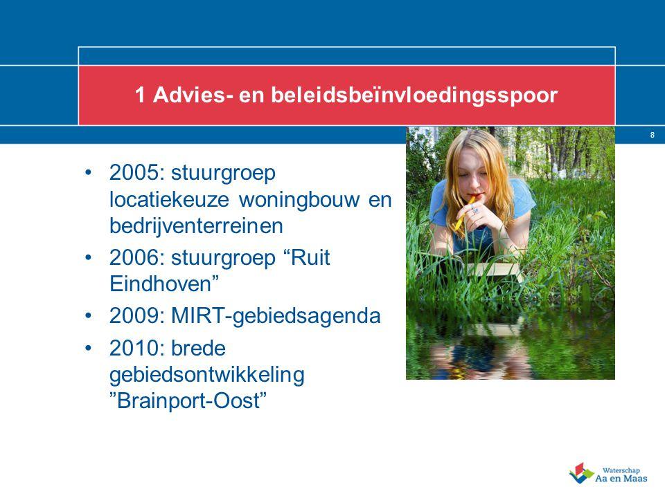 8 1 Advies- en beleidsbeïnvloedingsspoor 2005: stuurgroep locatiekeuze woningbouw en bedrijventerreinen 2006: stuurgroep Ruit Eindhoven 2009: MIRT-gebiedsagenda 2010: brede gebiedsontwikkeling Brainport-Oost
