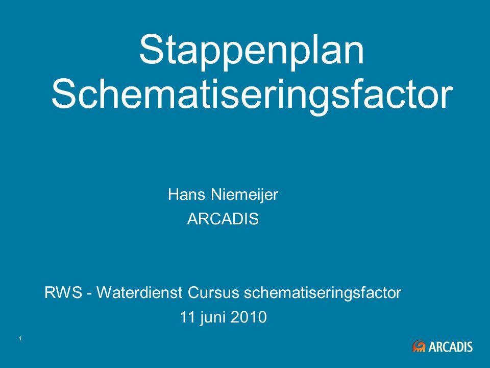 1 Stappenplan Schematiseringsfactor Hans Niemeijer ARCADIS RWS - Waterdienst Cursus schematiseringsfactor 11 juni 2010