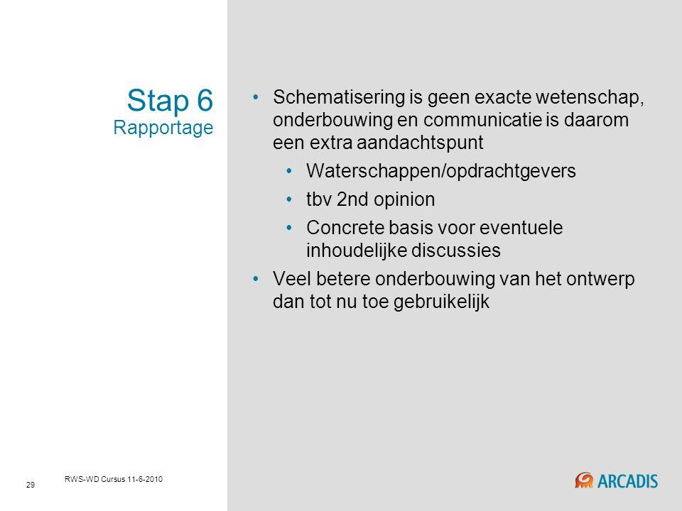 29 RWS-WD Cursus 11-6-2010 Stap 6 Rapportage Schematisering is geen exacte wetenschap, onderbouwing en communicatie is daarom een extra aandachtspunt
